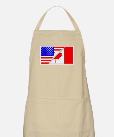 United States and Canada Flags Combined Apron
