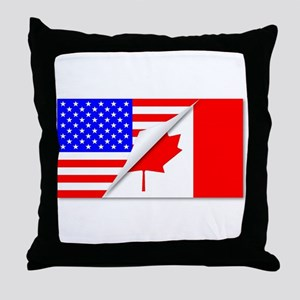 United States and Canada Flags Combin Throw Pillow