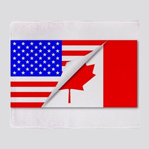 United States and Canada Flags Combi Throw Blanket