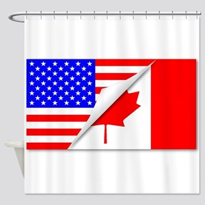 United States and Canada Flags Comb Shower Curtain