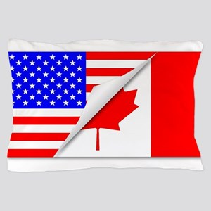 United States and Canada Flags Combine Pillow Case