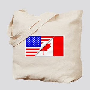 United States and Canada Flags Combined Tote Bag