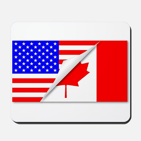 United States and Canada Flags Combined Mousepad