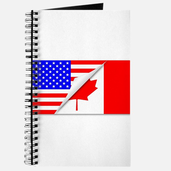 United States and Canada Flags Combined Journal
