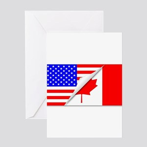United States and Canada Flags Comb Greeting Cards