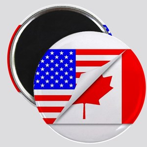 United States and Canada Flags Combined Magnets