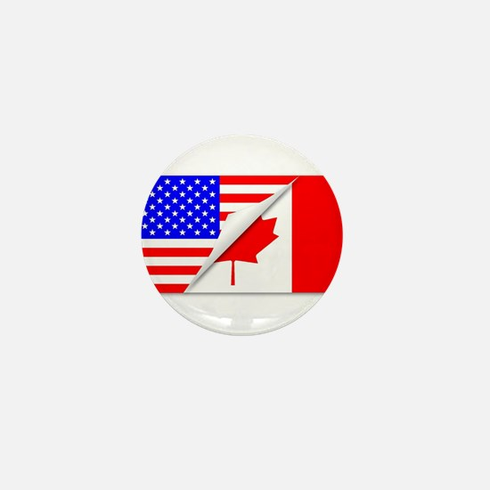 United States and Canada Flags Combine Mini Button