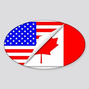United States and Canada Flags Combined Sticker