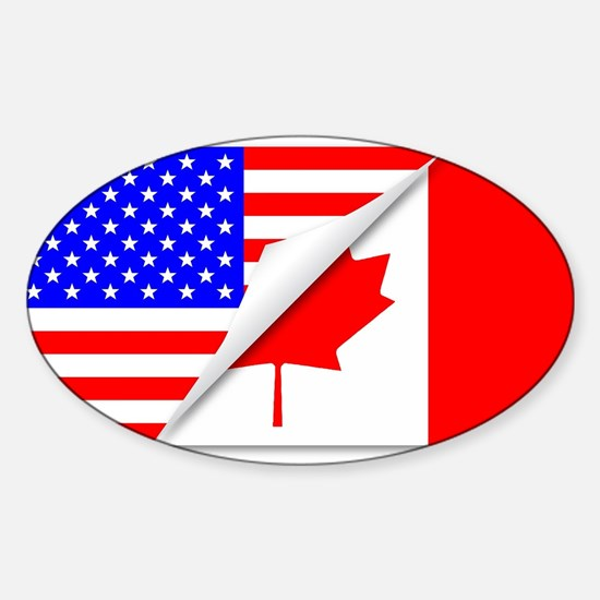 United States and Canada Flags Combined Decal
