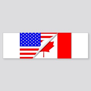 United States and Canada Flags Comb Bumper Sticker
