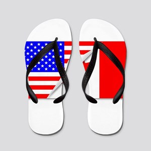 058546a960f704 United States and Canada Flags Combined Flip Flops