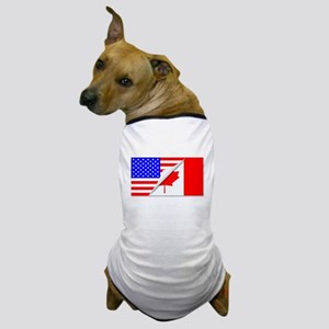 United States and Canada Flags Combine Dog T-Shirt
