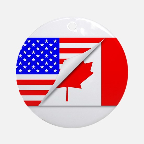 United States and Canada Flags Comb Round Ornament