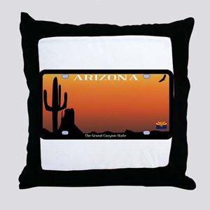 Arizona State License Plate Throw Pillow