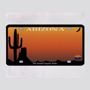 Arizona State License Plate Throw Blanket