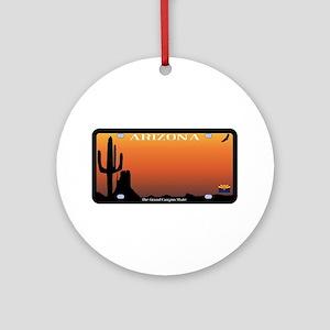 Arizona State License Plate Round Ornament