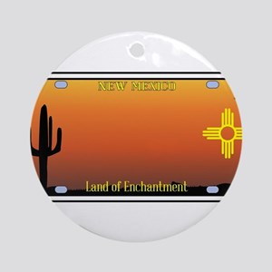 New Mexico License Plate Round Ornament