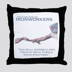 The Creation of Ironworkers Throw Pillow