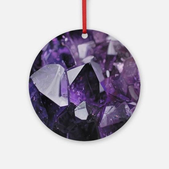 Cool Amethyst crystal gemstone Round Ornament