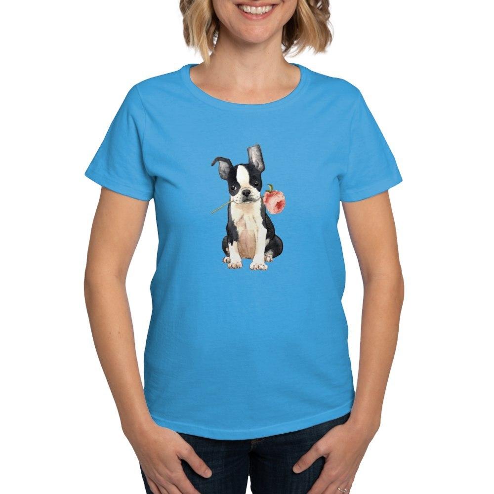 CafePress-Boston-Terrier-Rose-T-Shirt-Women-039-s-Cotton-T-Shirt-1819152060 thumbnail 12