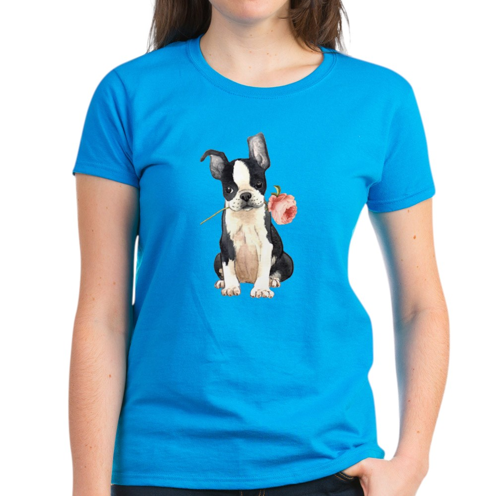 CafePress-Boston-Terrier-Rose-T-Shirt-Women-039-s-Cotton-T-Shirt-1819152060 thumbnail 14