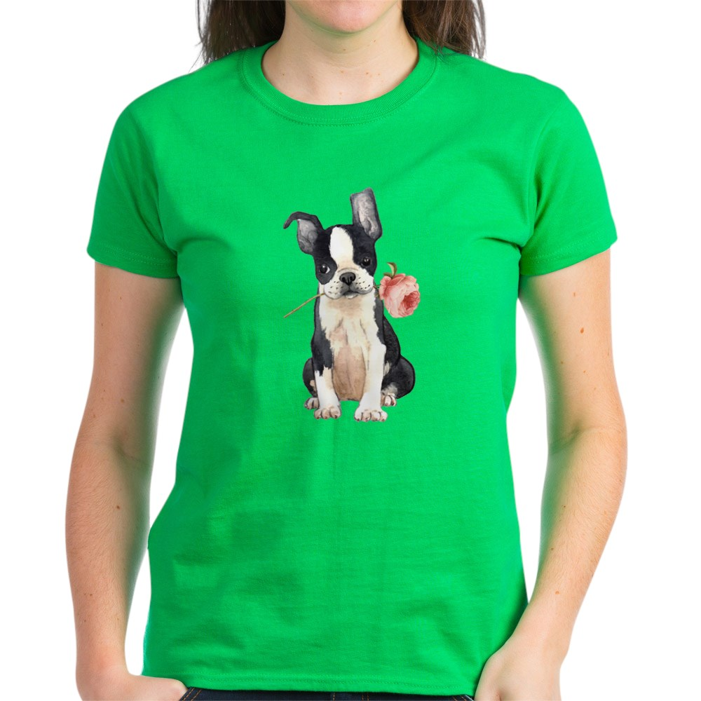 CafePress-Boston-Terrier-Rose-T-Shirt-Women-039-s-Cotton-T-Shirt-1819152060 thumbnail 32