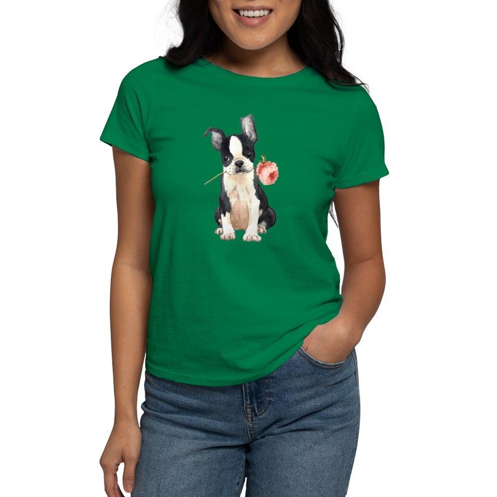 CafePress-Boston-Terrier-Rose-T-Shirt-Women-039-s-Cotton-T-Shirt-1819152060 thumbnail 30
