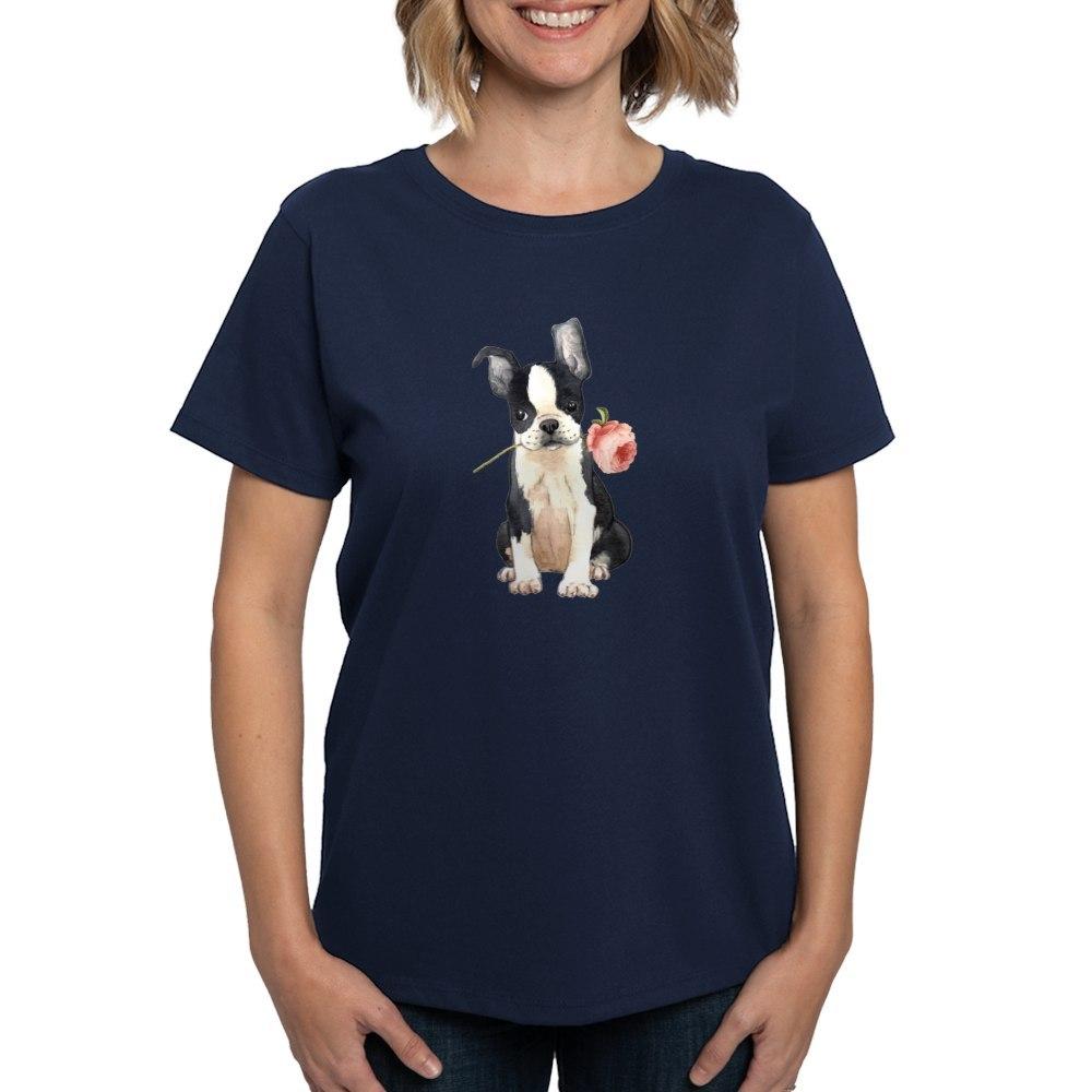 CafePress-Boston-Terrier-Rose-T-Shirt-Women-039-s-Cotton-T-Shirt-1819152060 thumbnail 43