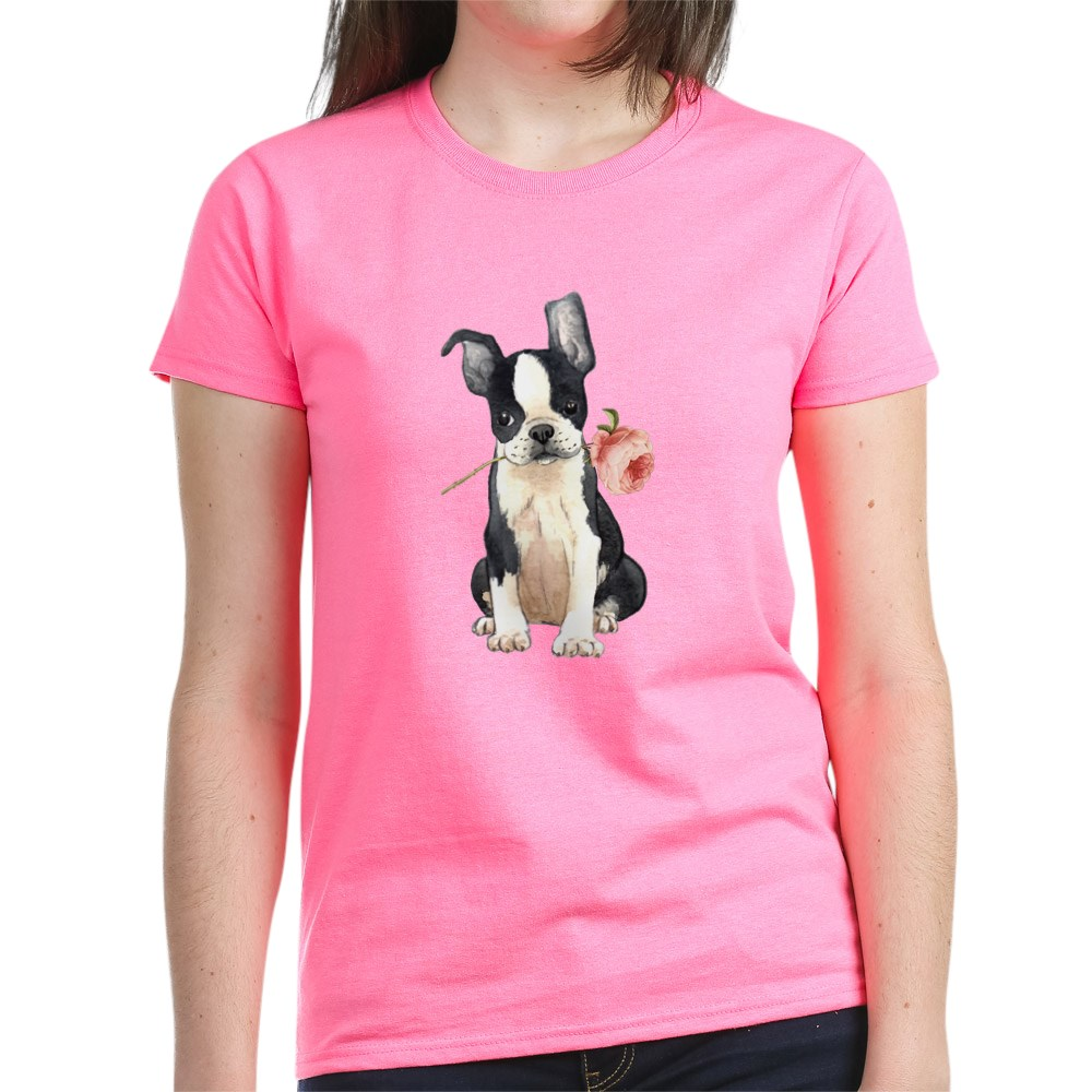 CafePress-Boston-Terrier-Rose-T-Shirt-Women-039-s-Cotton-T-Shirt-1819152060 thumbnail 49