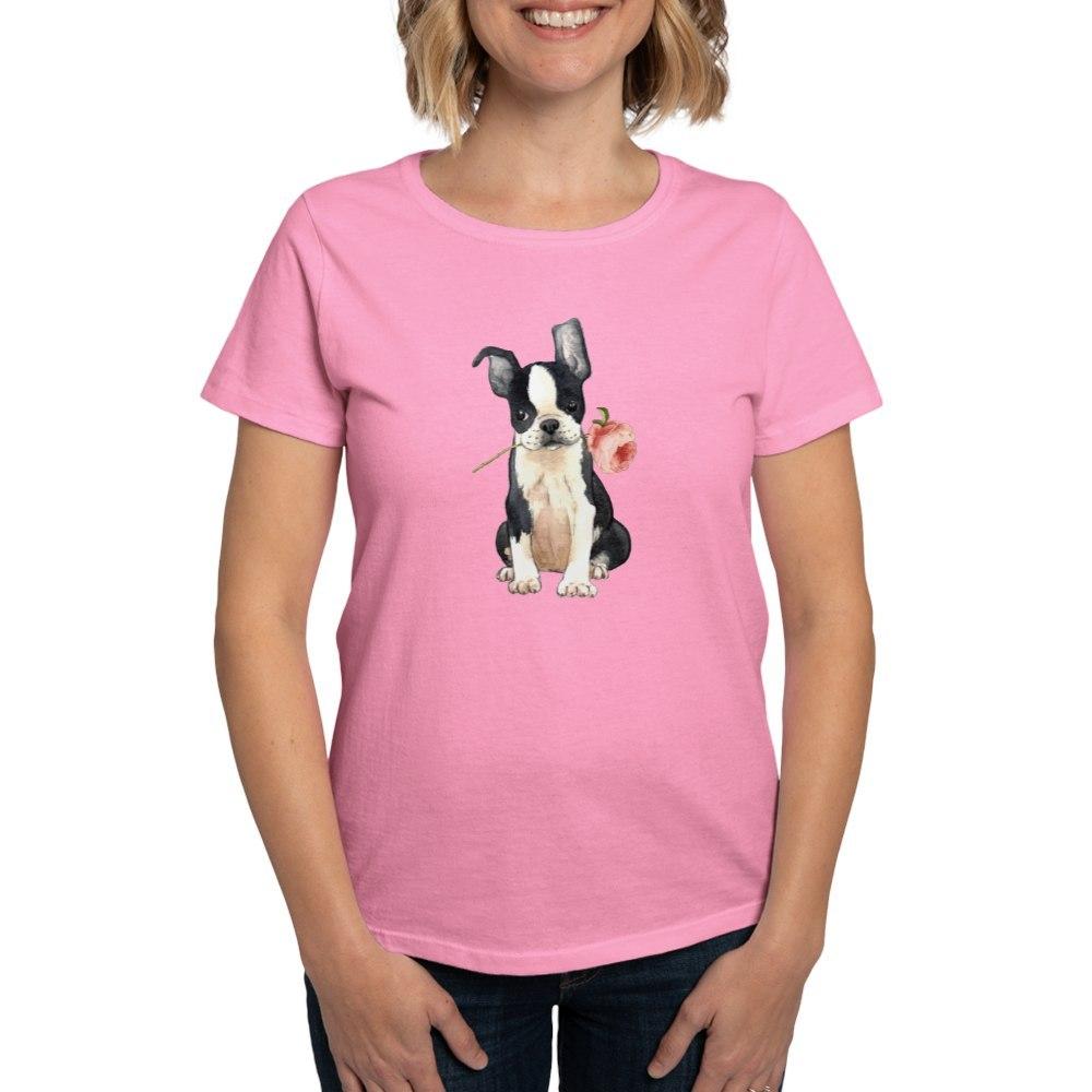 CafePress-Boston-Terrier-Rose-T-Shirt-Women-039-s-Cotton-T-Shirt-1819152060 thumbnail 50