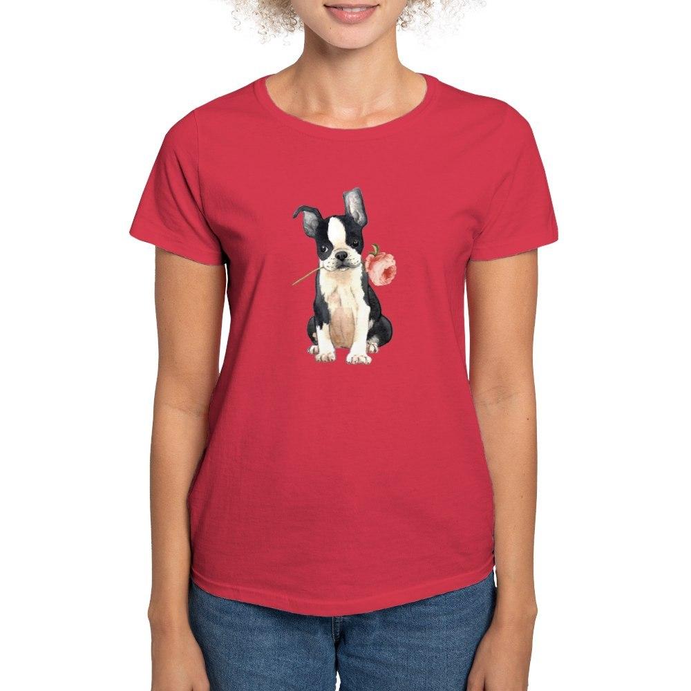 CafePress-Boston-Terrier-Rose-T-Shirt-Women-039-s-Cotton-T-Shirt-1819152060 thumbnail 59
