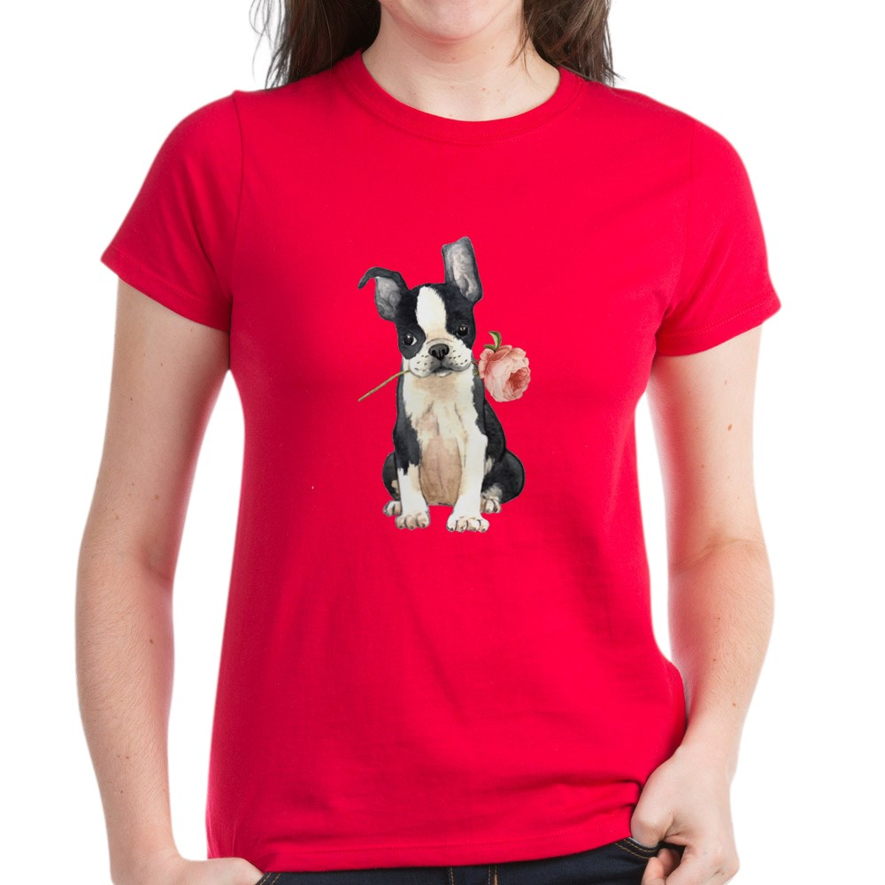 CafePress-Boston-Terrier-Rose-T-Shirt-Women-039-s-Cotton-T-Shirt-1819152060 thumbnail 61