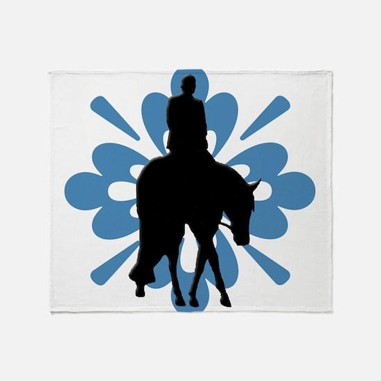Hunter under saddle flower power Throw Blanket