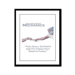 The Creation of Mechanics Framed Panel Print