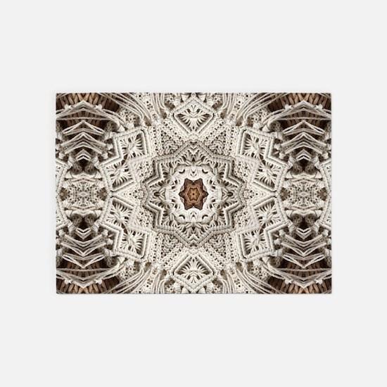 Boho tribal bohemian crochet 5'x7'Area Rug