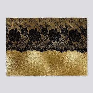 Black lace on gold 5'x7'Area Rug