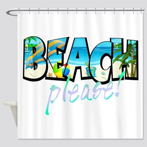 Kids Beach Please Shower Curtain