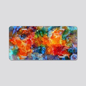 Fire In Haven Colorful Abst Aluminum License Plate