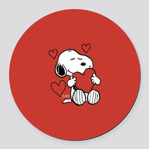 Peanuts: Snoopy Heart Round Car Magnet