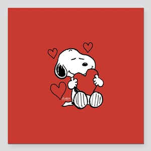 "Peanuts: Snoopy Heart Square Car Magnet 3"" x 3"""