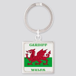 Cardiff Wales Square Keychain