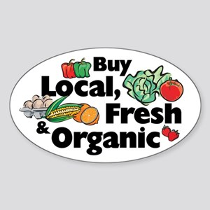 Buy Local Fresh & Organic Oval Sticker