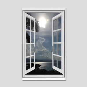 Beach View Fake Window 35x21 Wall Decal