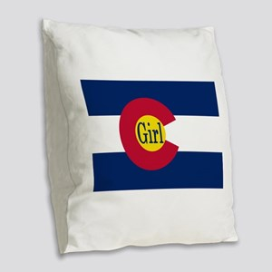Colorado Girl Flag Burlap Throw Pillow