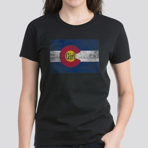 Colorado Girl Flag Aged Women's Dark T-Shirt