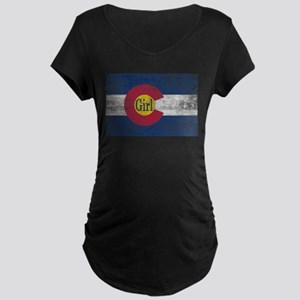 Colorado Girl Flag Aged Maternity Dark T-Shirt