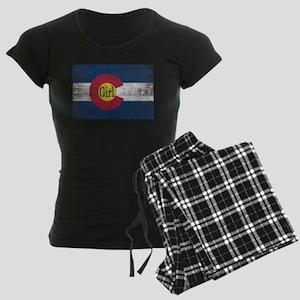 Colorado Girl Flag Aged Women's Dark Pajamas