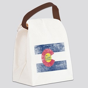 Colorado Girl Flag Aged Canvas Lunch Bag