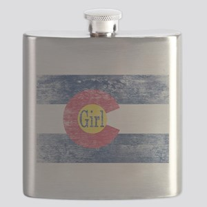 Colorado Girl Flag Aged Flask