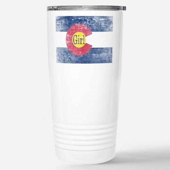 Colorado Girl Flag Aged Stainless Steel Travel Mug